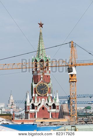 Repair in the Kremlin. restructuring. Spasskaya Frolov Tower. Russia, Moscow, Red Square