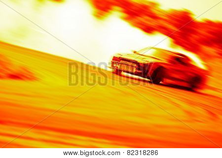Very Fast Driving, Motion Blur Drift On Fire