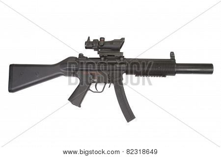submachine gun with silencer