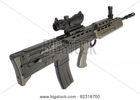 British Assault Rifle L85 Isolated On A White Background