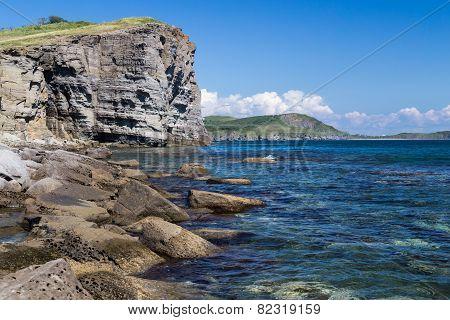 Beach on Russkiy island Vladivostok Russia