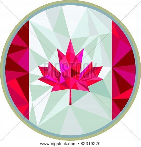 Canada Flag Icon Circle Low Polygon