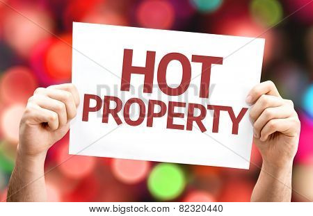Hot Property card with colorful background with defocused lights