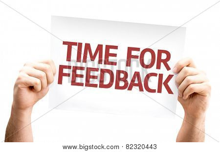 Time for Feedback card isolated on white background
