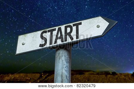 Start sign with a beautiful night background