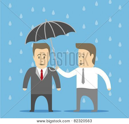 Slave covers the boss from the rain by umbrella