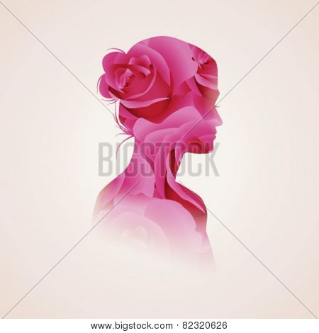 Vector double exposure illustration. Woman silhouette plus abstract flower background