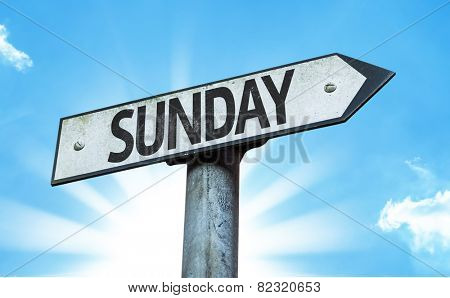 Sunday sign with a beautiful day