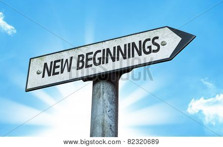 New Beginnings sign with a beautiful day