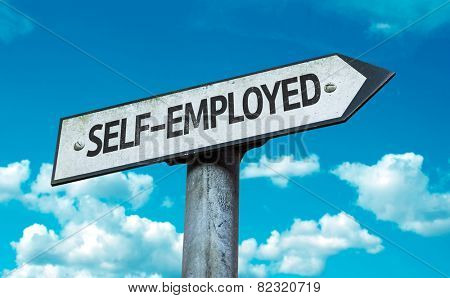 Self-Employed sign with sky background