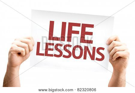 Life Lessons card isolated on white background