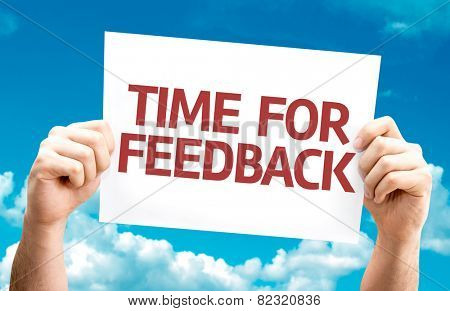 Time for Feedback card with sky background
