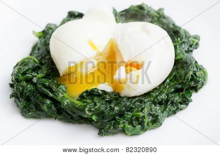 Boiled egg on a bed of spinach, an Italian recipe uova mollette agli spinaci.