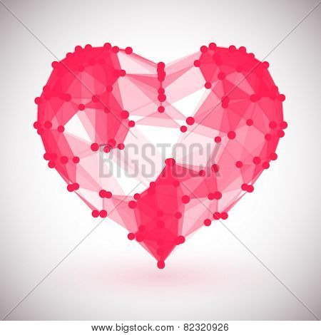 Red Heart, low polygonal design with dots