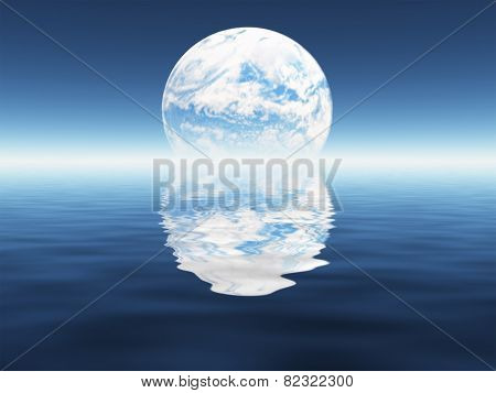 Blue planet seen in distance