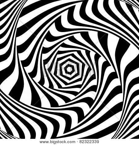 Illusion of vortex movement. Abstract op art design. Vector art.