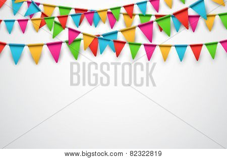 Celebrate background. Party colorful flags. Vector illustration.