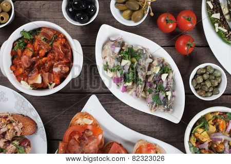 Spanish tapas or antipasto food, cold buffet appetizers
