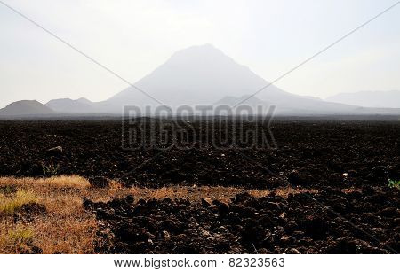 Lava Field Leading To Volcano