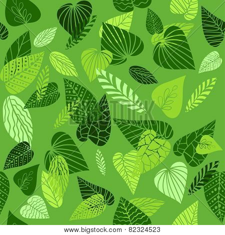 Summer green leaves. Seamless pattern