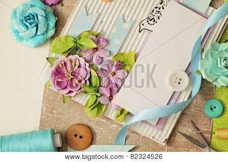 scrap booking. making of greeting card