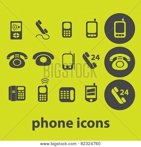 phone, smartphone, mobile icons, signs, illustrations on background set, vector