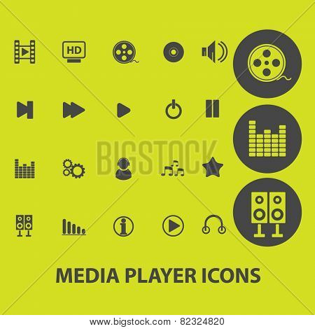 media player, audio, music player interface icons, signs, illustrations on background set, vector
