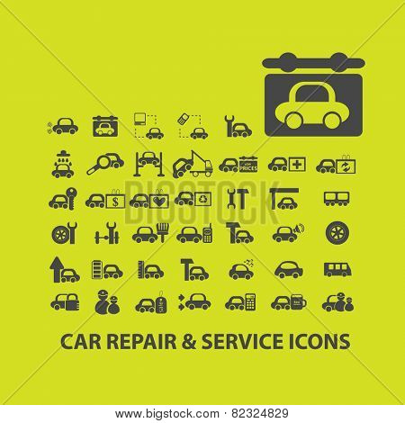 car repair, service, auto, mechanic icons, signs, illustrations on background set, vector