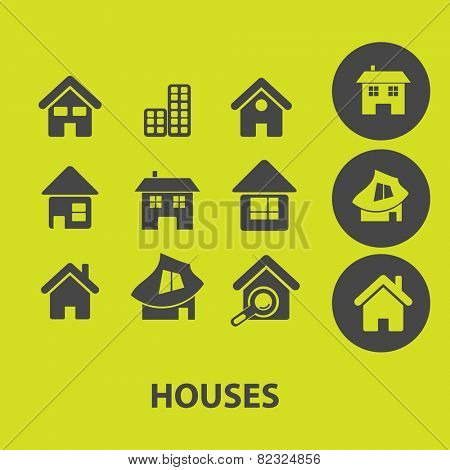 houses, buildings icons, signs, illustrations on background set, vector