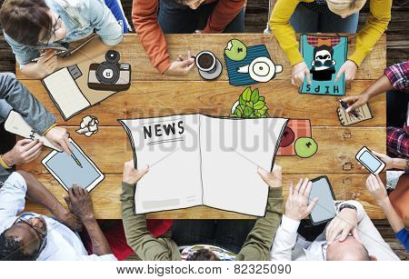 Journalist News Meeting Teamwork Broadcast Concept