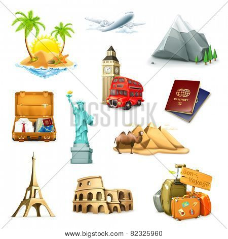 Travel, set of vector icons