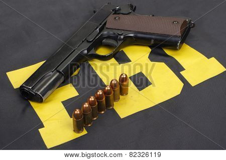 Colt Government M1911 Handgun With Ammo On Fbi Uniform