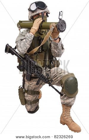 Us Soldier With Anti-tank Rocket Launcher Rpg On White Background