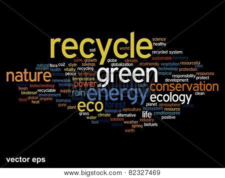 Vector concept or conceptual abstract green ecology and conservation word cloud text on black background, metaphor to environment, recycle, earth, alternative, protection, energy, eco friendly or bio