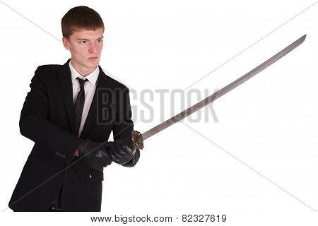 Man In Black Costume And Katana Sword