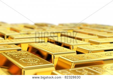 Many gold bars with shallow depth of field. Fictional logo on the gold bars.