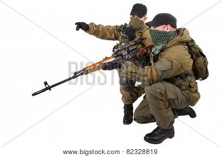 Insurgent Sniper Pair With Svd Rifle