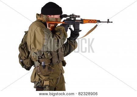 Mercenary Sniper With Svd Rifle