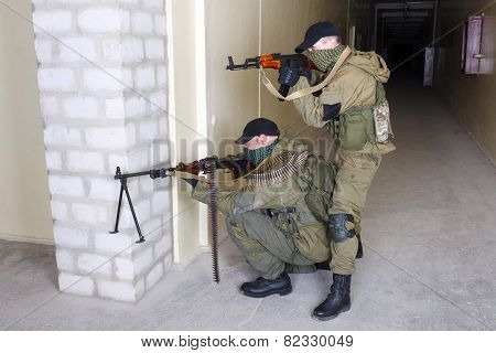 Rebels With Ak 47 And Machine Gun
