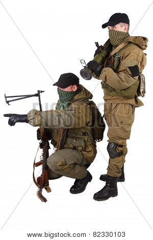 Mercenaries With Machine Gun And Rocket Launcher