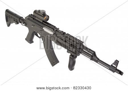 Assault rifle AK with modern accessories
