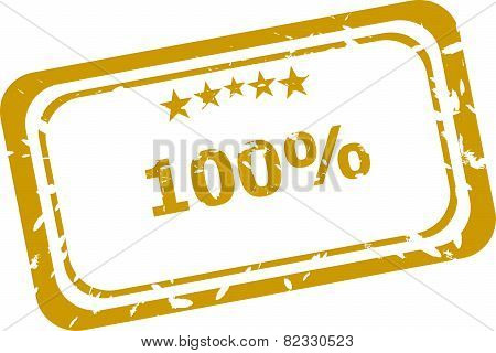 100% Red Rubber Stamp Over A White Background