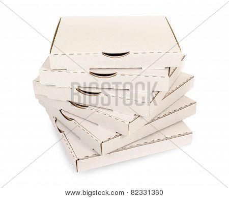 Small Stack Of Plain Pizza Boxes