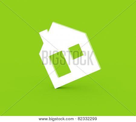 3d model house symbol set on green background