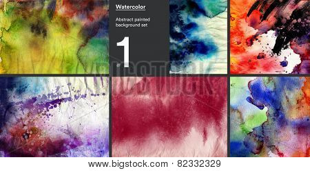 Set of abstract painted watercolor ink backgrounds