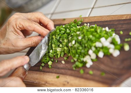 Hand cut scallion used as ingredient for cooking