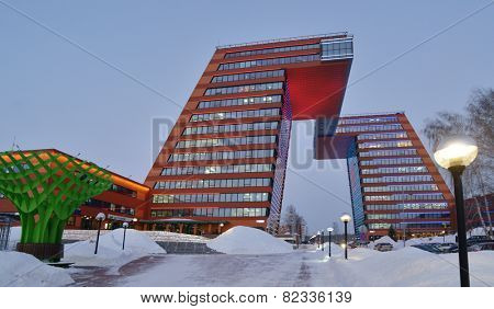 NOVOSIBIRSK, RUSSIA - DECEMBER 18, 2014: Building of Information Technology Center in Akademgorodok. The building completed in 2013 become one of the symbols of Novosibirsk technopark