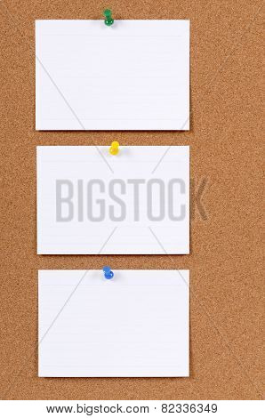 Office Index Cards On A Bulletin Board