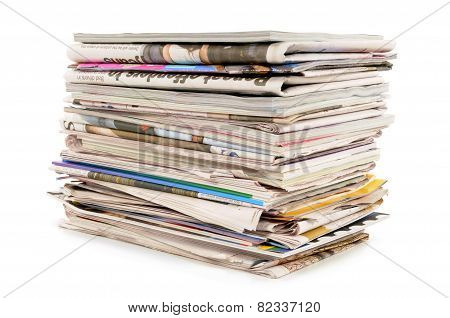 Pile Of Old Newspapers And Magazines