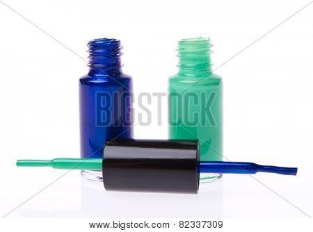 nail polish set isolated on white background